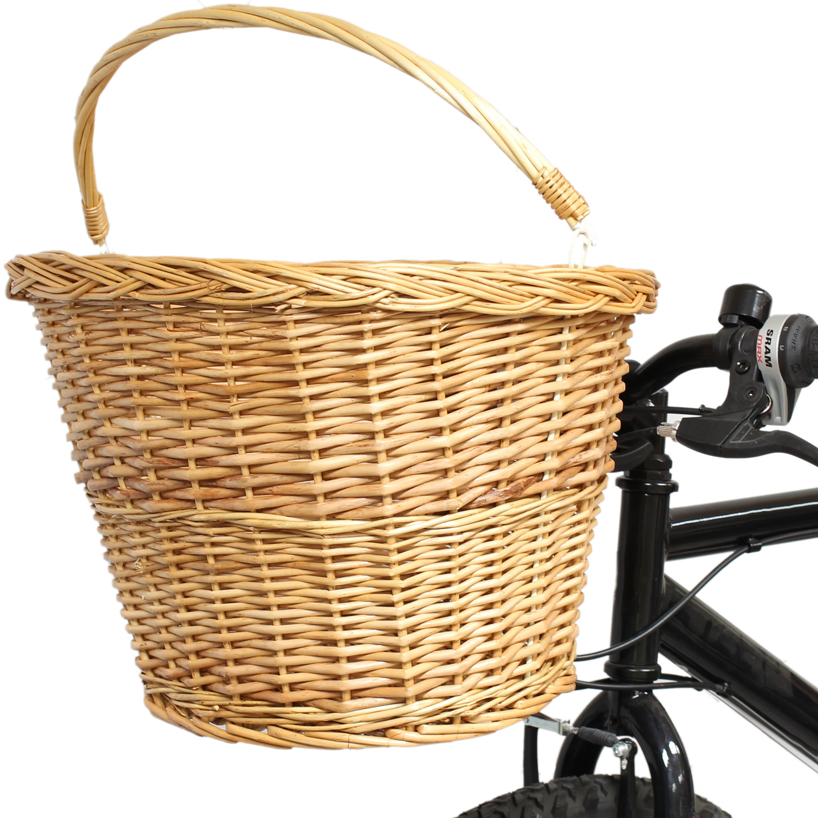 PEDALPRO QUICK RELEASE BICYCLE WICKER SHOPPING BASKET CARRY HANDLE BIKE/CYCLE Enlarged Preview