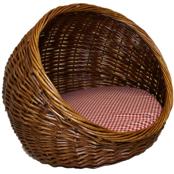 How To Weave A Cat Basket : Me my pets dark stained wicker bed basket cat kitten