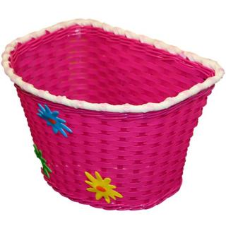 Pink Girls Childrens Bicycle Basket with Flowers