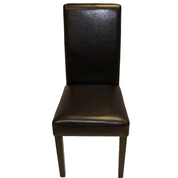 Brown faux leather wooden dining table chairs room for Black leather dining room chairs