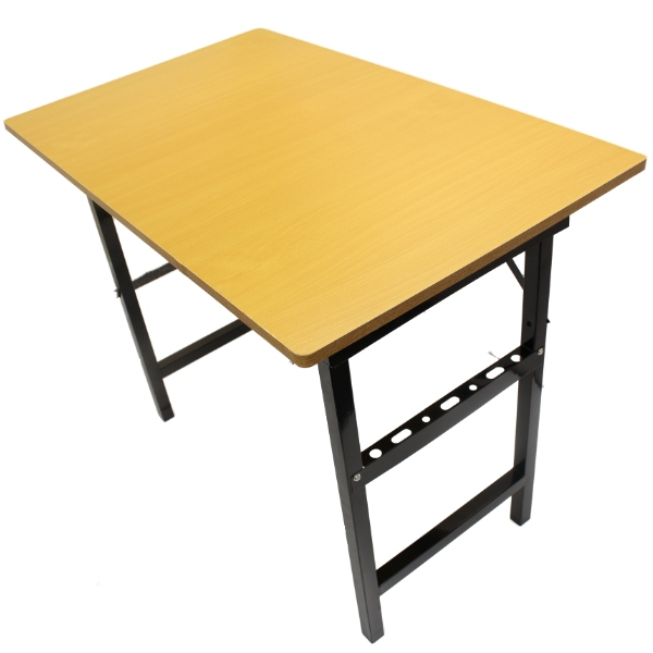 Thumbnail 1. 1M FOLDING PORTABLE TABLE WITH WOODEN WOOD TOP FOR WORK DISPLAY