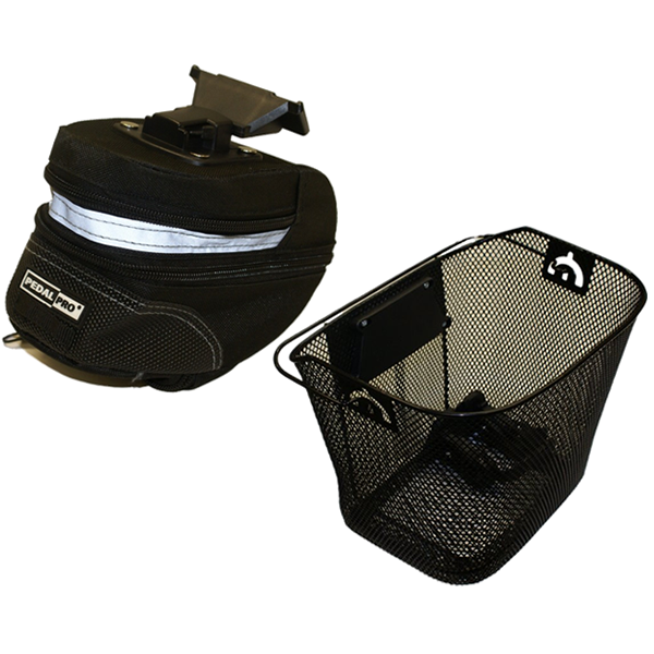 PEDALPRO BIKE/BICYCLE QUICK RELEASE METAL MESH SHOPPING BASKET & LARGE WEDGE BAG Enlarged Preview