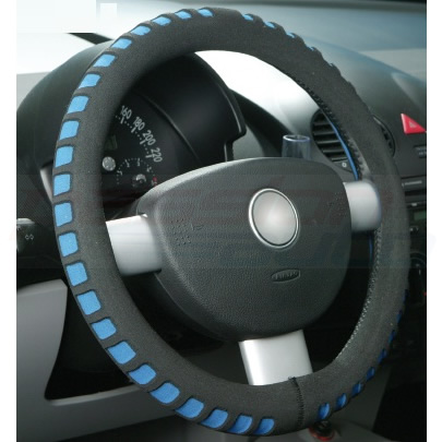 BLUE & BLACK COMFY FOAM CAR STEERING WHEEL COVER/GLOVE - UNIVERSAL PADDED DESIGN Enlarged Preview