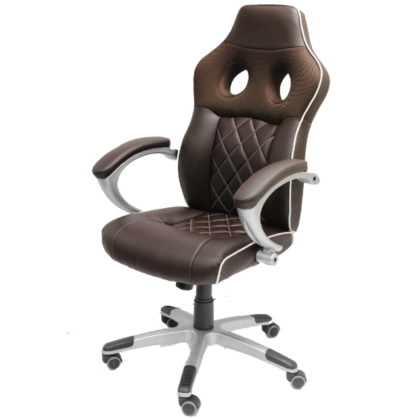 Luxury brown office computer chair sports car seat bucket for Luxury leather office chairs