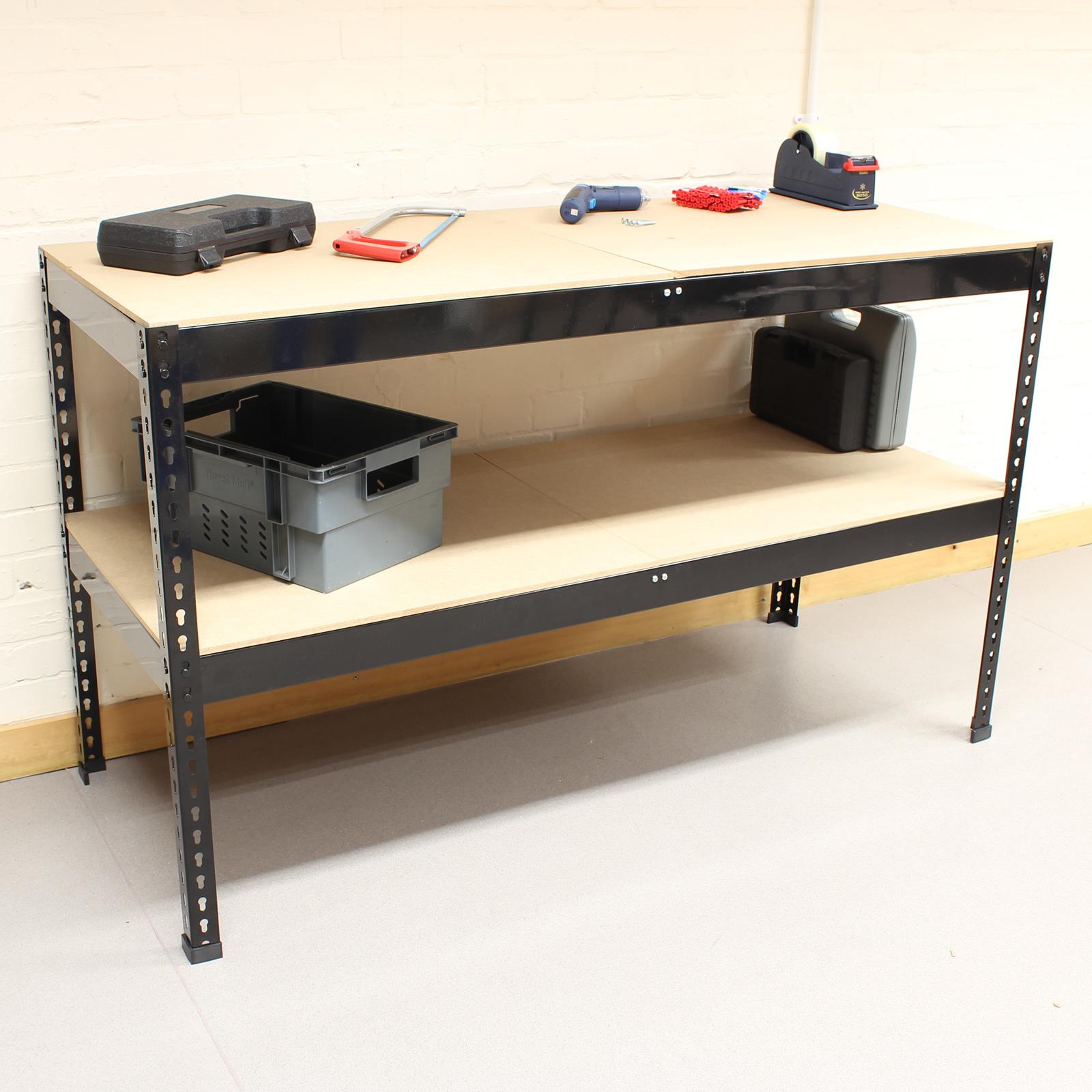 Black Heavy Duty Steel Work Bench Station Shelves For Garage Warehouse Shed Ebay
