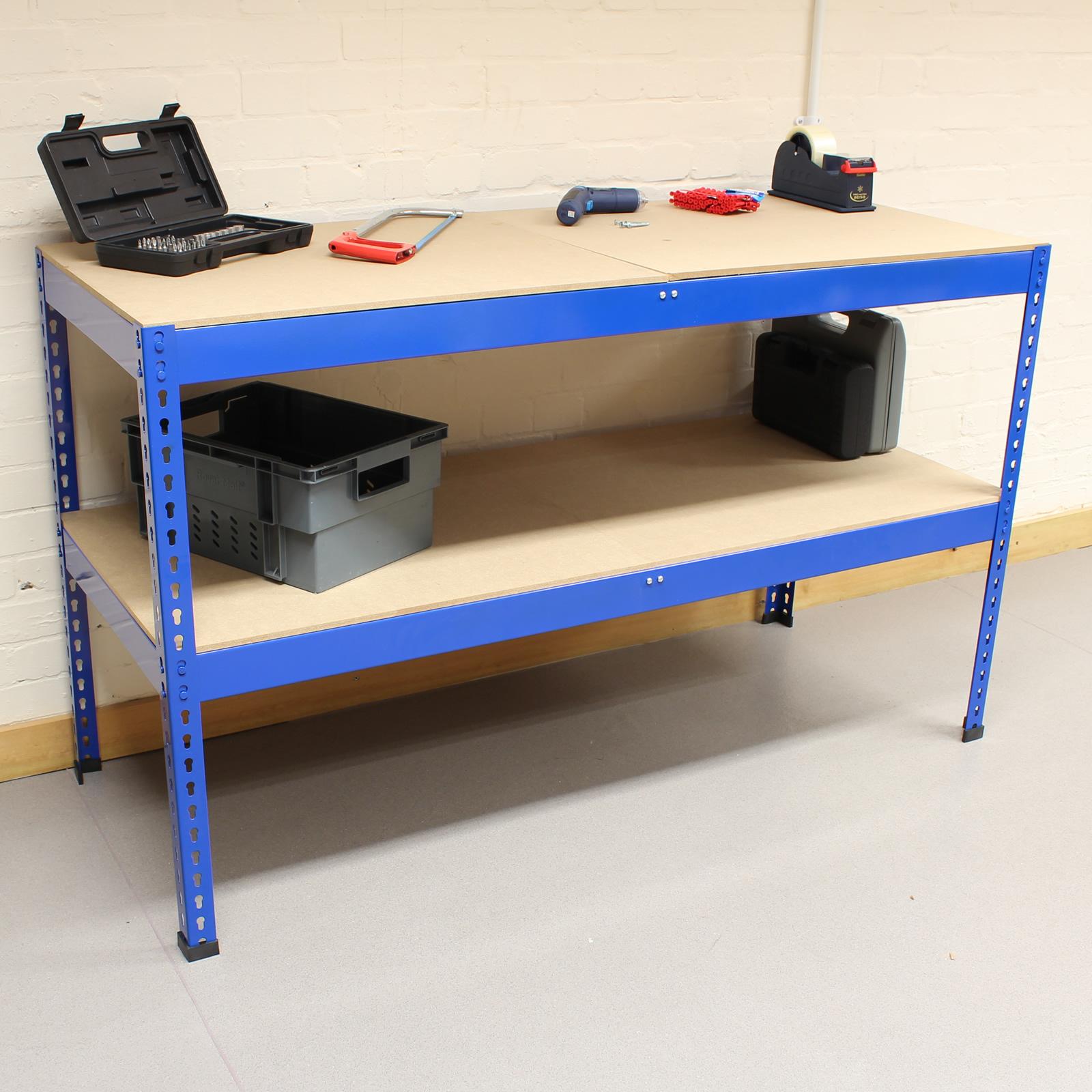 1 5m Blue Heavy Duty Steel Work Bench Station Shelves For Garage Warehouse Shed Ebay