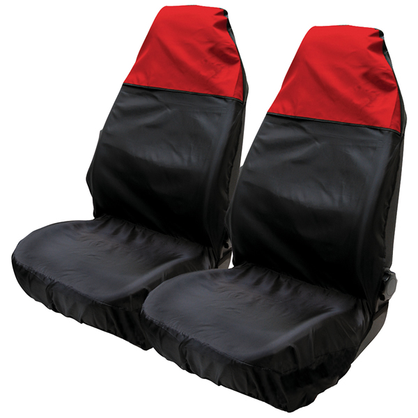 2x universal waterproof red black front seat covers protectors for car van seats. Black Bedroom Furniture Sets. Home Design Ideas