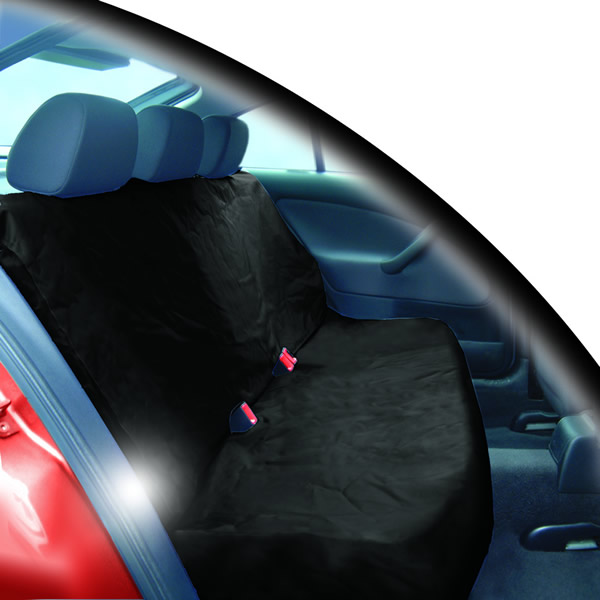 BLACK 2 PCE WATER RESISTANT REAR CAR SEAT PROTECTOR COVER FOR BASE/BACK OF SEATS Enlarged Preview