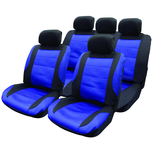 14 pce black blue mesh car seat covers steering wheel cover set new protectors ebay. Black Bedroom Furniture Sets. Home Design Ideas