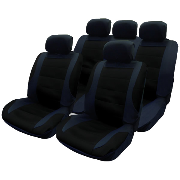 14pce black mesh car seat covers steering cover set pet child spill protectors ebay. Black Bedroom Furniture Sets. Home Design Ideas