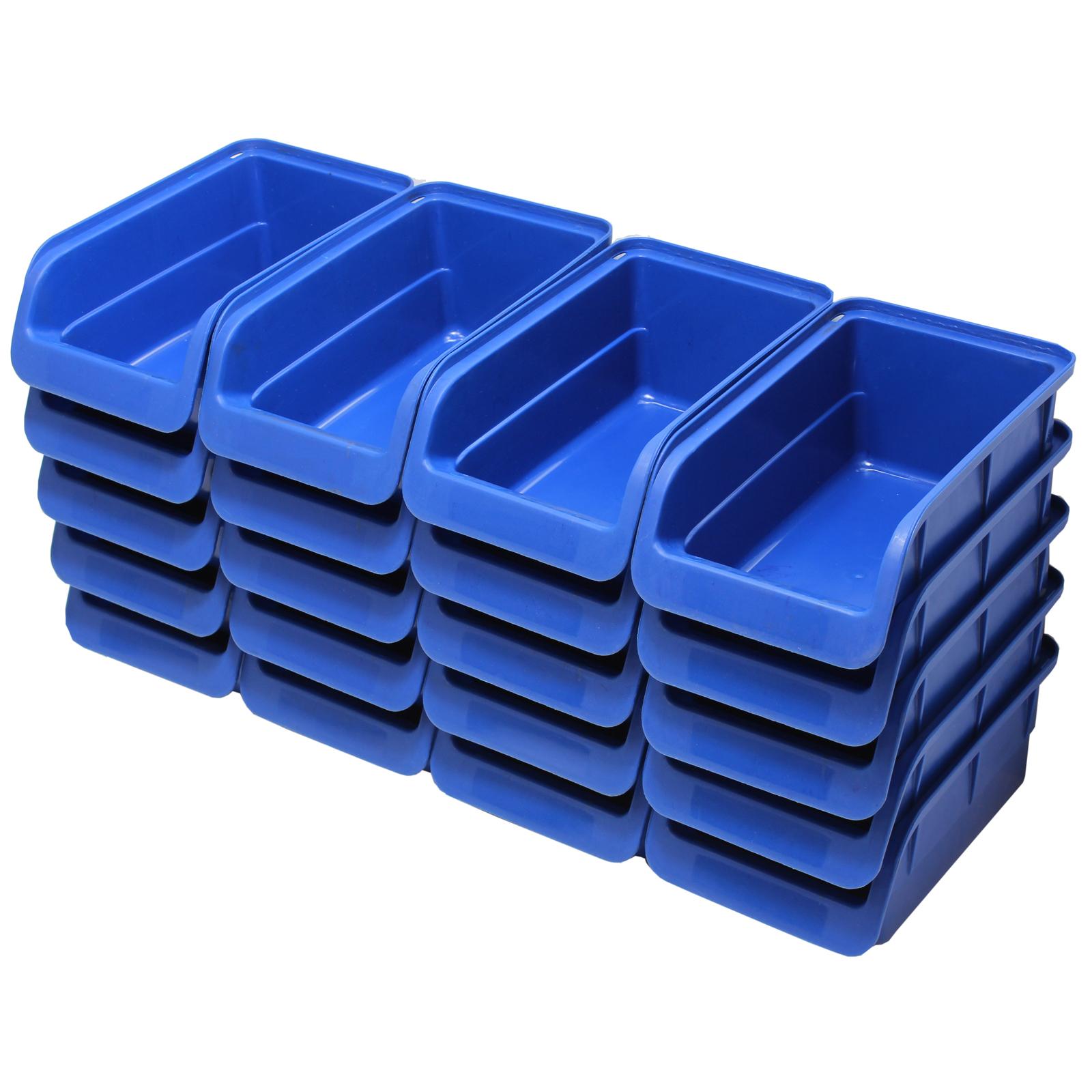 20pce free standing blue plastic storage bin kit garage for Best storage bins for garage