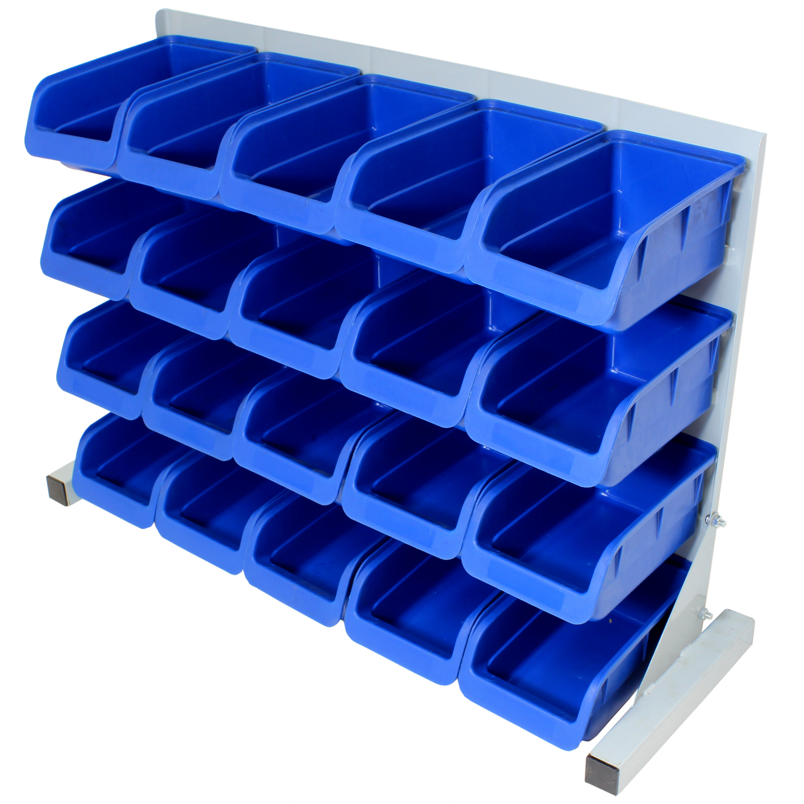 20pce Free Standing Blue Plastic Storage Bin Kit Garage