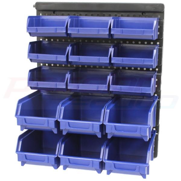 15pce wall mount plastic storage bin tub kit garage workshop shed bins tubs rack ebay. Black Bedroom Furniture Sets. Home Design Ideas
