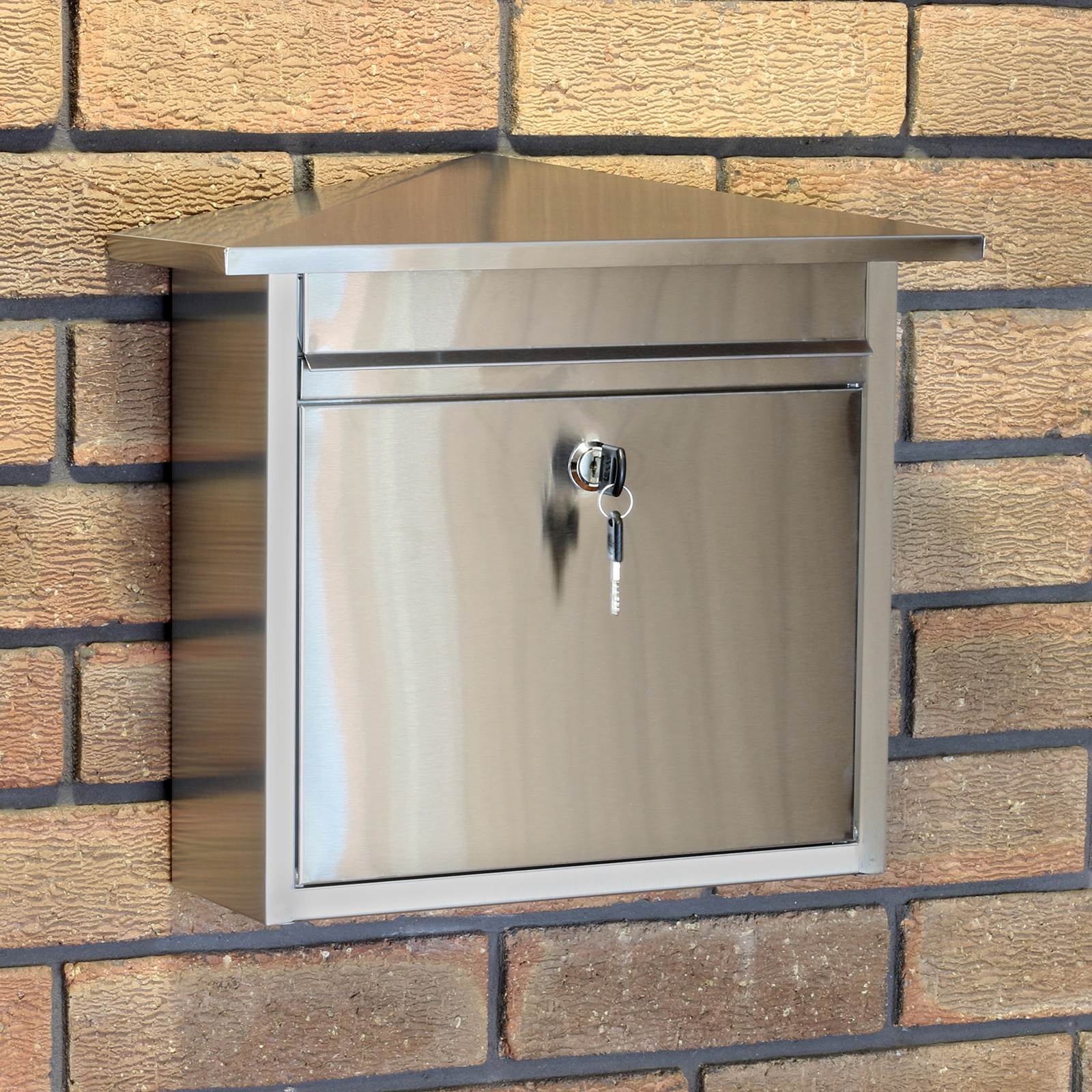 Stainless Steel Lockable Mailbox Postbox Outdoor Home Mail