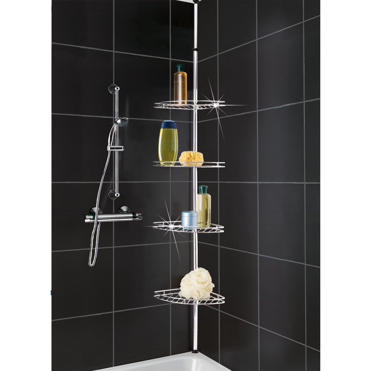 metal corner shower bathroom basket caddy shelf telescopic. Black Bedroom Furniture Sets. Home Design Ideas