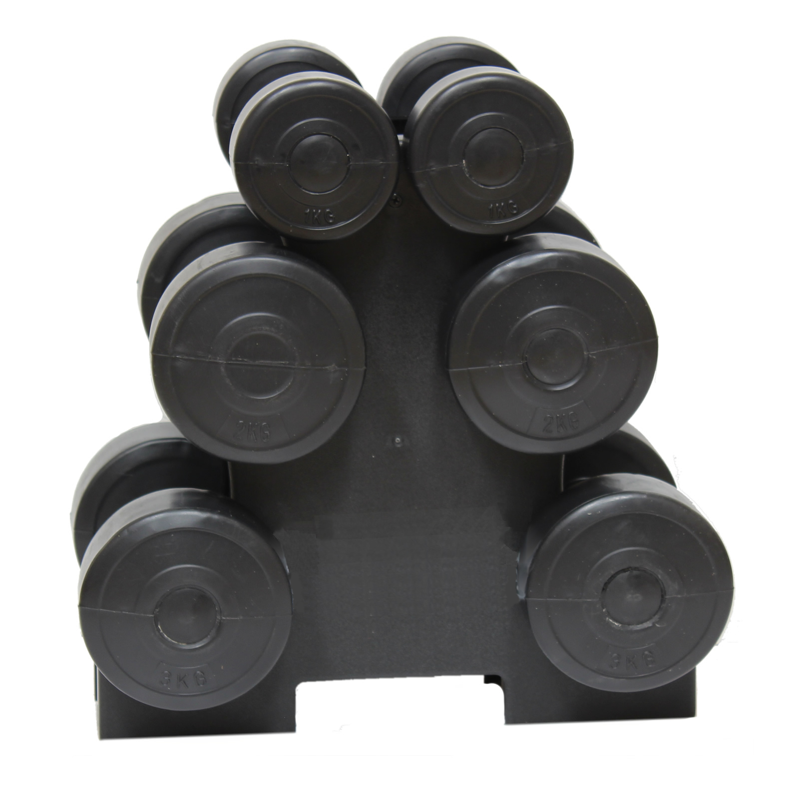 12KG DUMBBELL WEIGHTS SET & STAND/RACK HOME GYM/EXERCISE/WORKOUT WEIGHT LIFTING Enlarged Preview