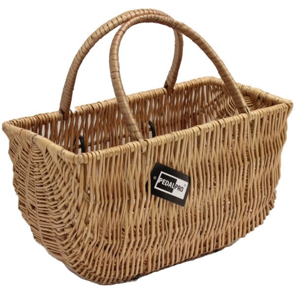 Wicker Bicycle Basket With Handle : Pedalpro front bicycle wicker ping basket double carry
