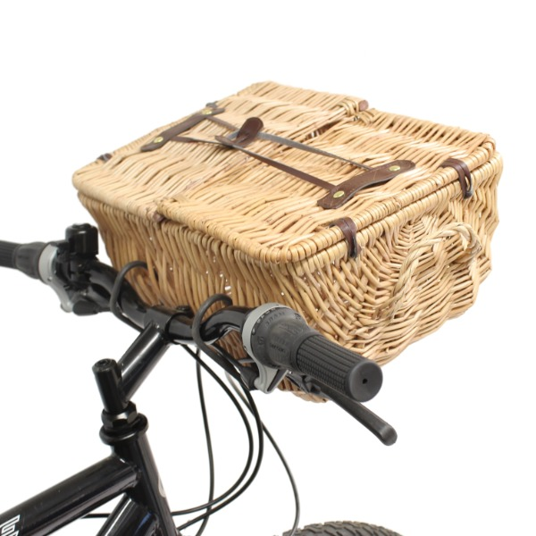 PEDALPRO FRONT BICYCLE WICKER SHOPPING PICNIC BASKET CARRY HANDLE FOR BIKE/CYCLE Enlarged Preview