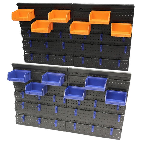 25pce wall mounted tool rack board with pegs storage bins garage workshop shed ebay. Black Bedroom Furniture Sets. Home Design Ideas