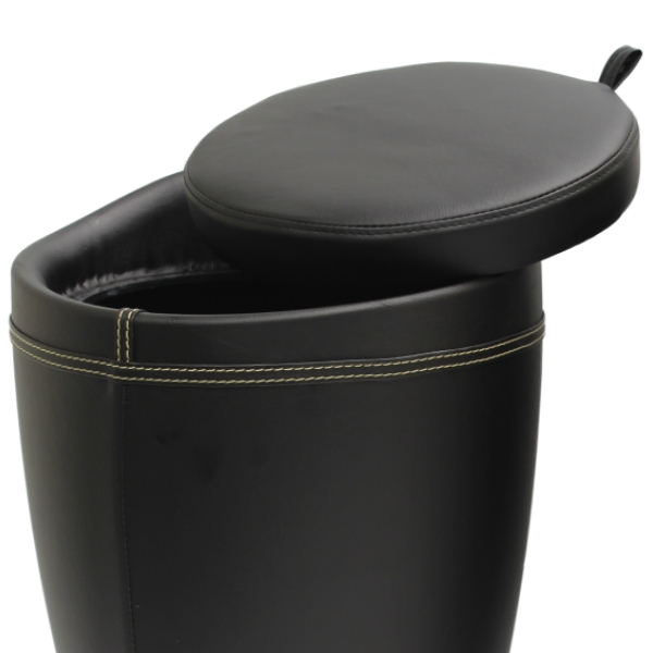 Faux Leather Hidden Storage Ottoman Stool Box Tub Barrel