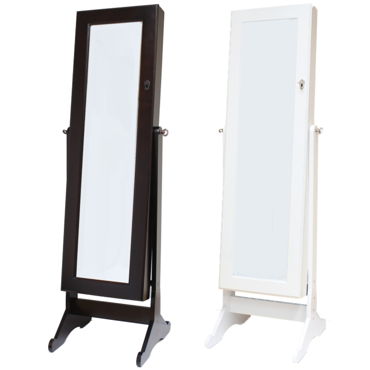 Large floor standing bedroom mirror jewellery box cabinet for Floor standing mirrored bathroom cabinet