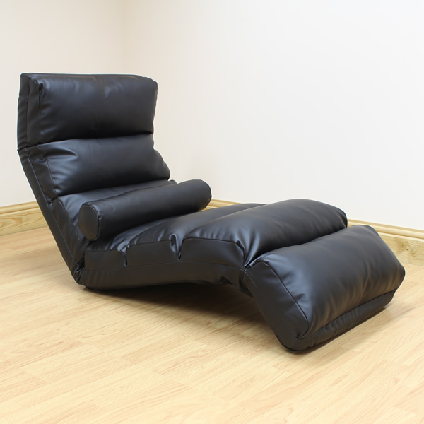 Black Lounger Chaise Longue Day Bed Adjustable Lounge Seat Chair Sofa Leather