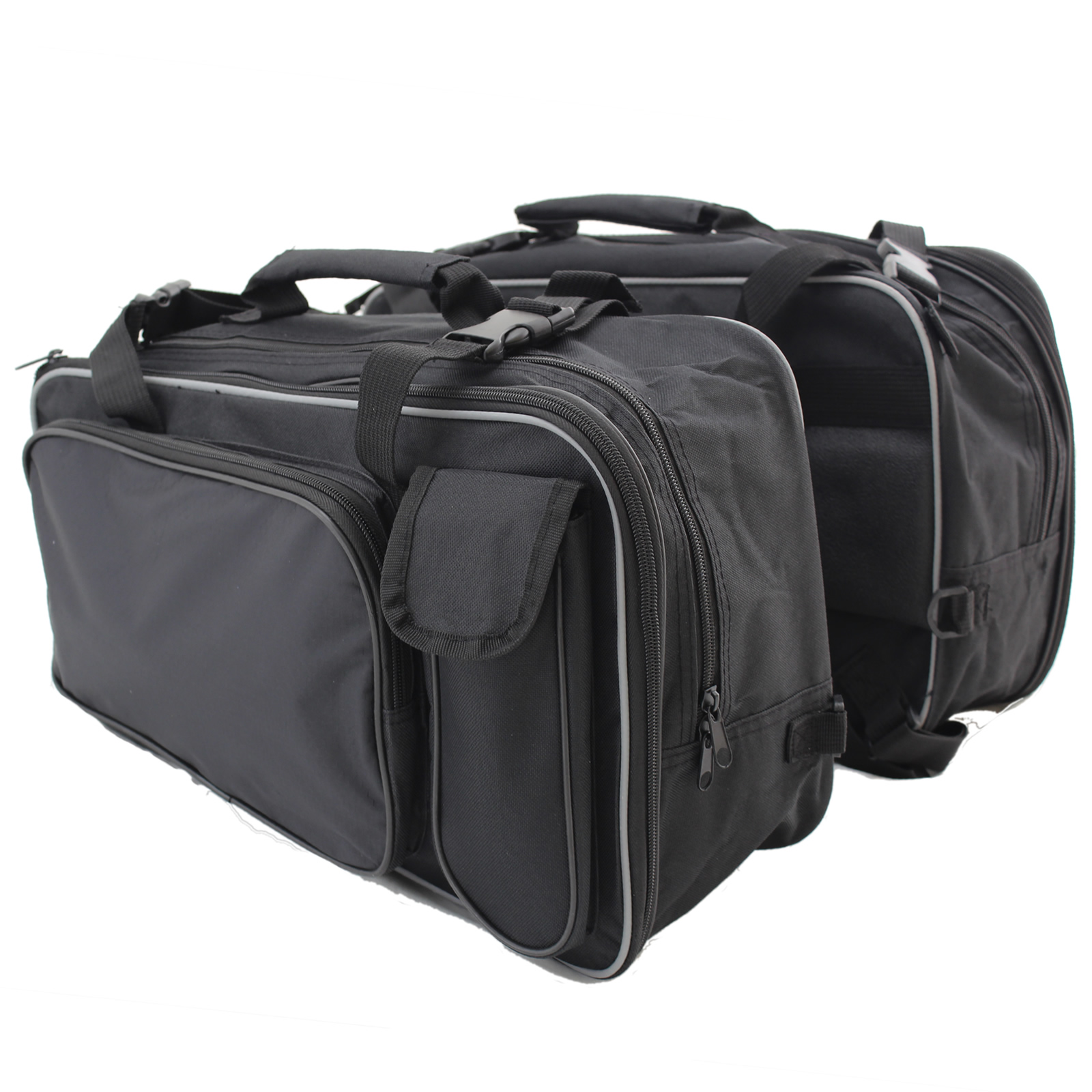 MOTORCYCLE LARGE TWIN BLACK SPORTS PANNIER BAGS MOTORBIKE/BIKE STORAGE PANNIERS Enlarged Preview