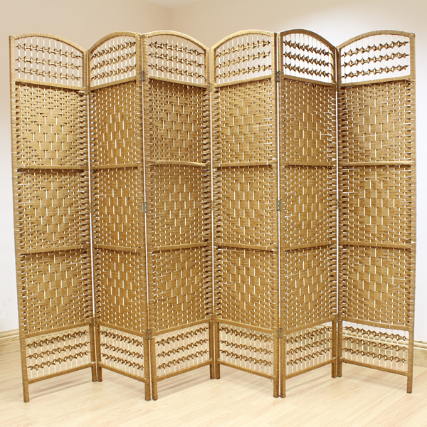 beige 6 panel wicker room divider hand made privacy screen separator