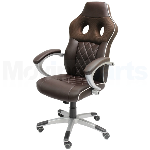 damaged brown luxury computer office chair car seat bucket faux leather ebay. Black Bedroom Furniture Sets. Home Design Ideas