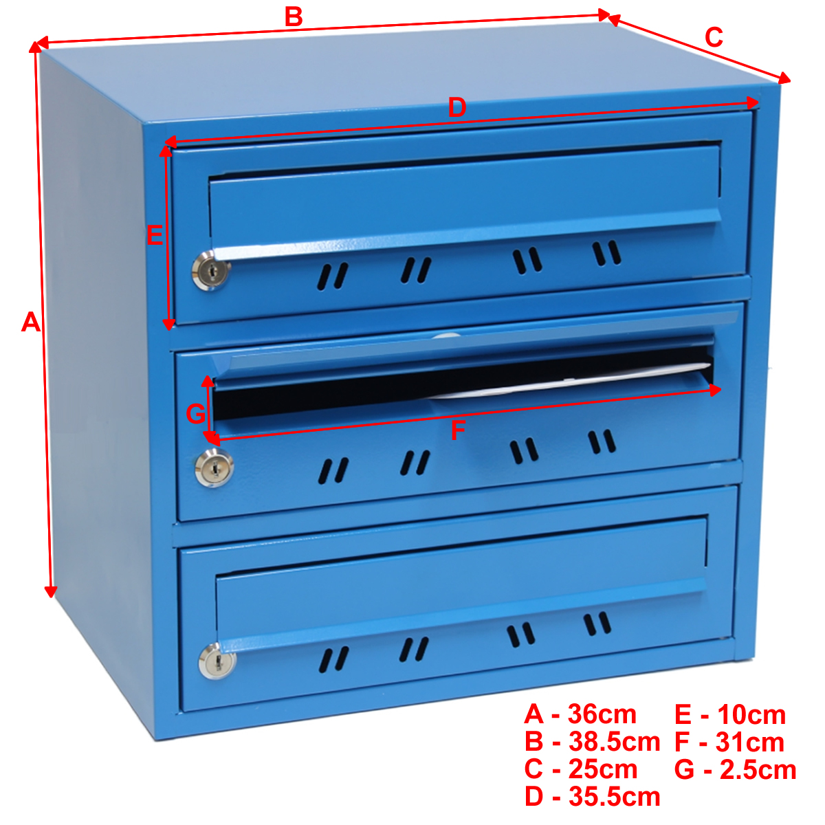 Lockable 3 Slot Pigeon Hole Letterbox Mail Multi Post Box
