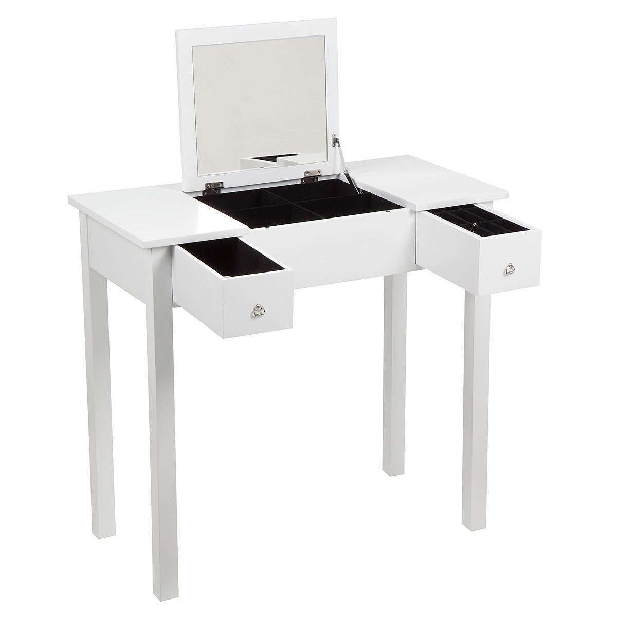 Bedroom Dressing Room Table With Folding Vanity Mirror