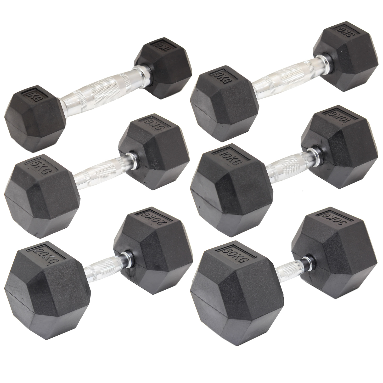 RUBBER DUMBBELL HEX WEIGHTS BICEPS/WORKOUT/TRAINING 2-60KG DUMBELLS GYM FITNESS Enlarged Preview