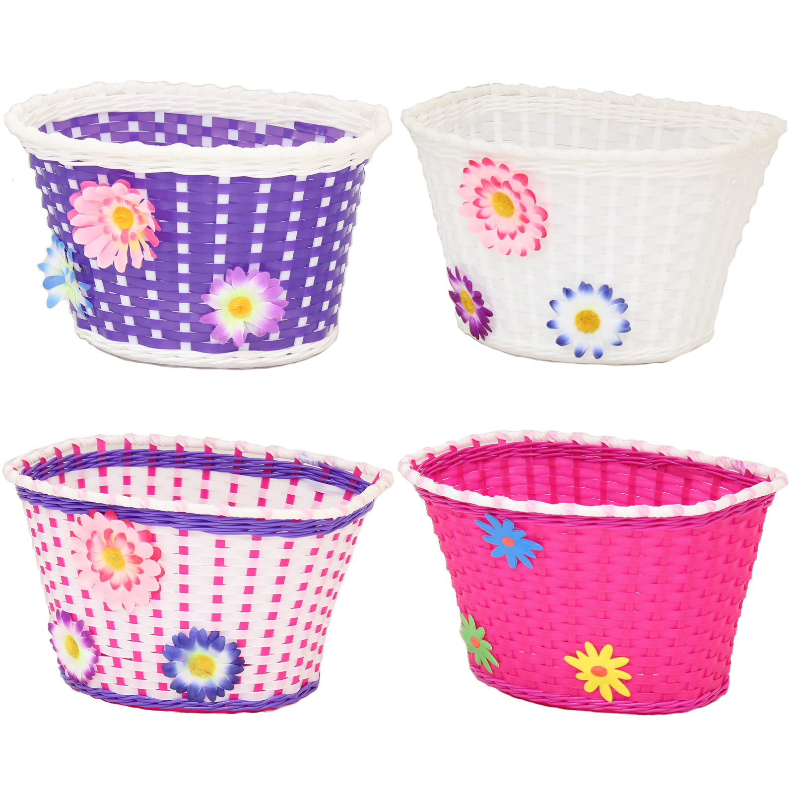 GIRLS BICYCLE BASKET FLOWERY/FLOWER/SHOPPING CHILDS/CHILDRENS/KIDS BIKE/CYCLE Enlarged Preview