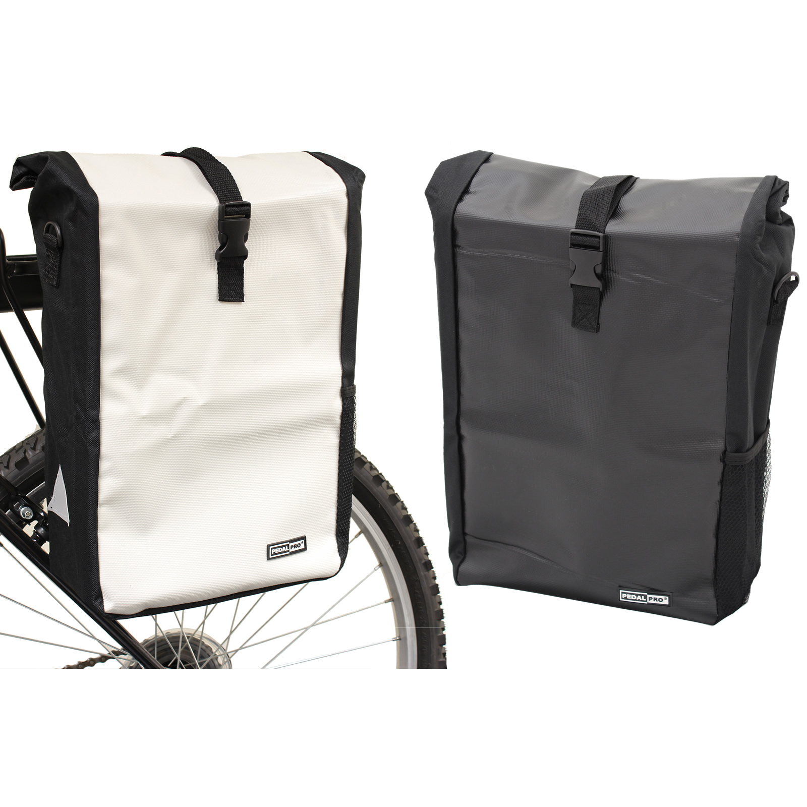 PEDALPRO SINGLE WATERPROOF CYCLE PANNIER BAG BIKE/BICYCLE RACK COMMUTE/SHOPPING Enlarged Preview