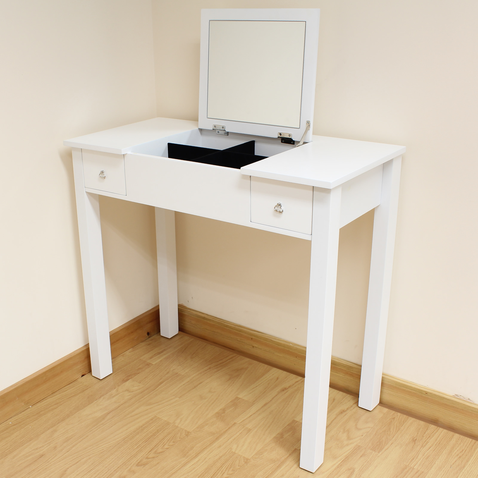 White Dressing Room Bedroom Vanity Make Up Table Desk Folding Mirror & St