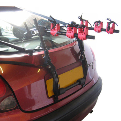 3 BICYCLE CARRIER CAR RACK BIKE/CYCLE UNIVERSAL FITS MOST CARS INC BOOT STRAPS