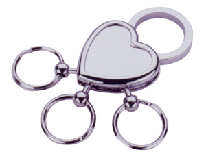 E-tech Heart Chrome Keyring