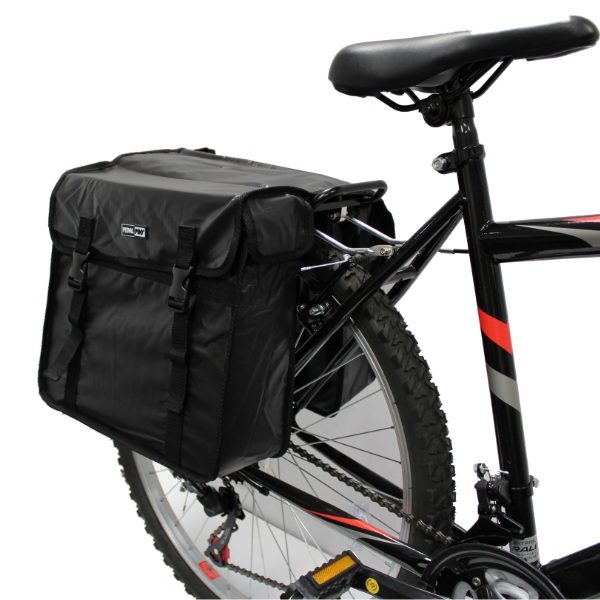 PEDALPRO DOUBLE BLACK BICYCLE REAR RACK PANNIER TOP BAG BIKE/CYCLE COMMUTER Y004 Enlarged Preview