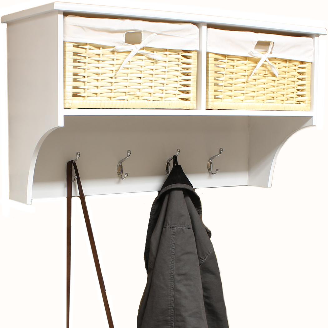 hartleys hallway wall shelf coat hook rack with wicker raffia storage baskets ebay. Black Bedroom Furniture Sets. Home Design Ideas