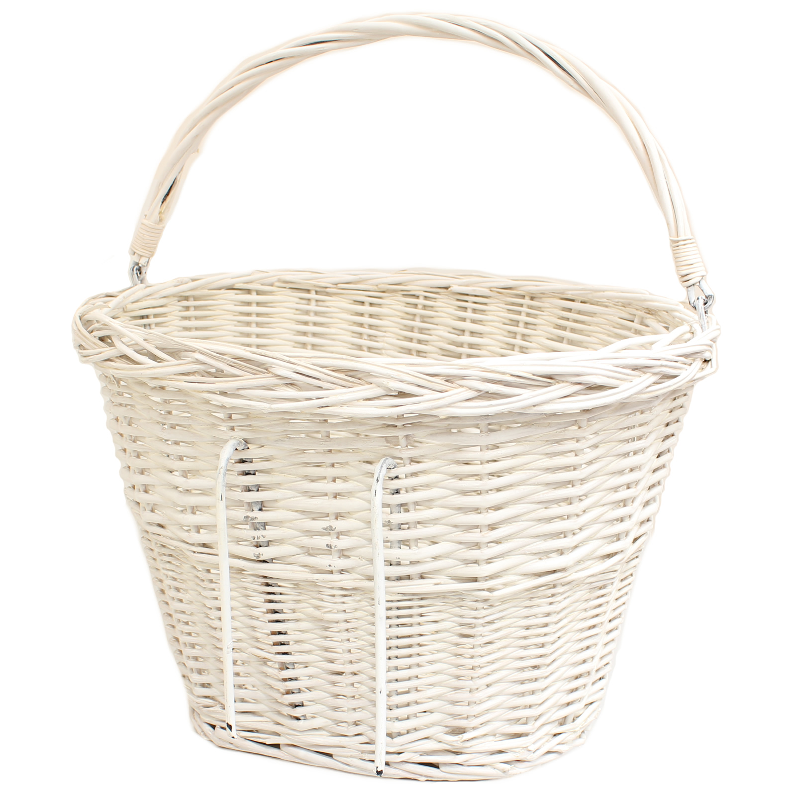Wicker Bike Basket With Handle : Pedalpro white wicker bicycle ping basket carry handle