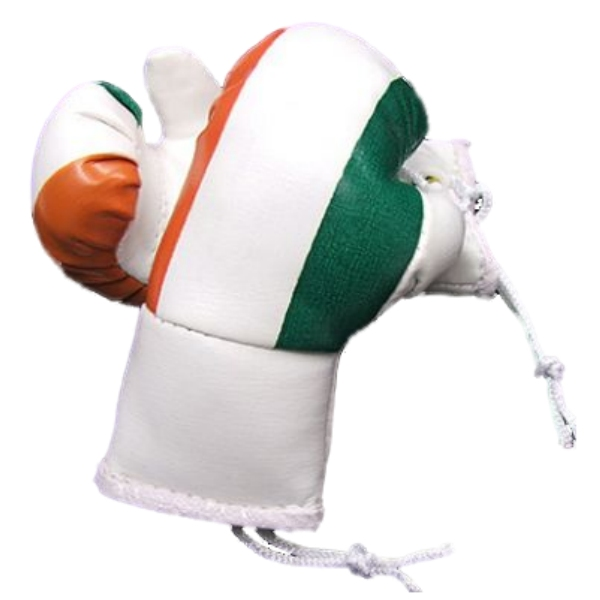 KNOCKOUT IRELAND/IRISH FLAG HANGING BOXING GLOVES CAR REARVIEW MIRROR  Enlarged Preview
