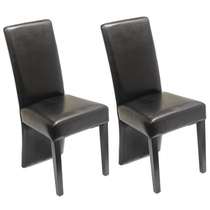 Damaged Furniture Sale: 2 X BLACK DINING CHAIRS WOODEN LEGS FAUX LEATHER