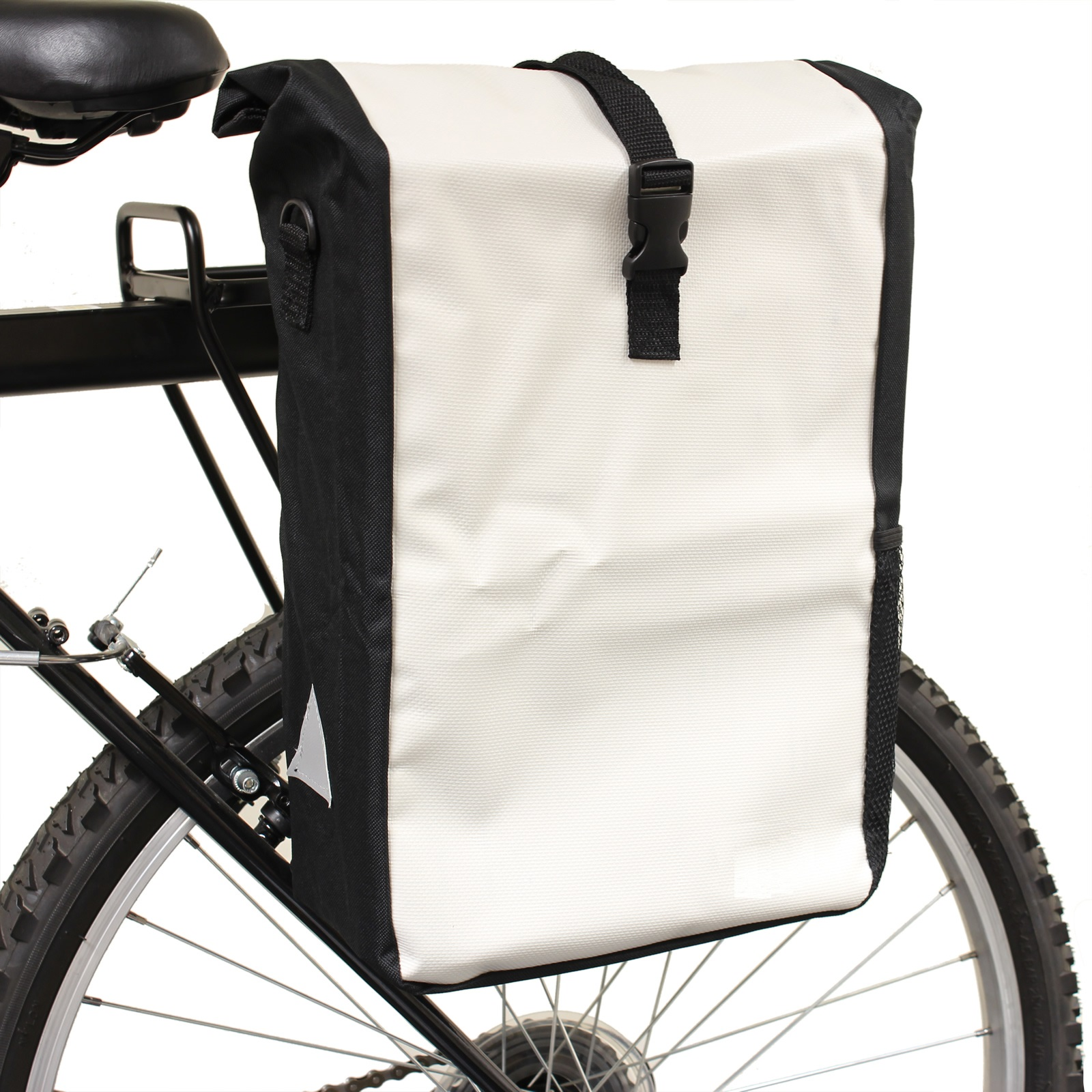 WHITE WATERPROOF SINGLE BICYCLE PANNIER RACK BAG BIKE/CYCLE COMMUTE/SHOPPING Enlarged Preview