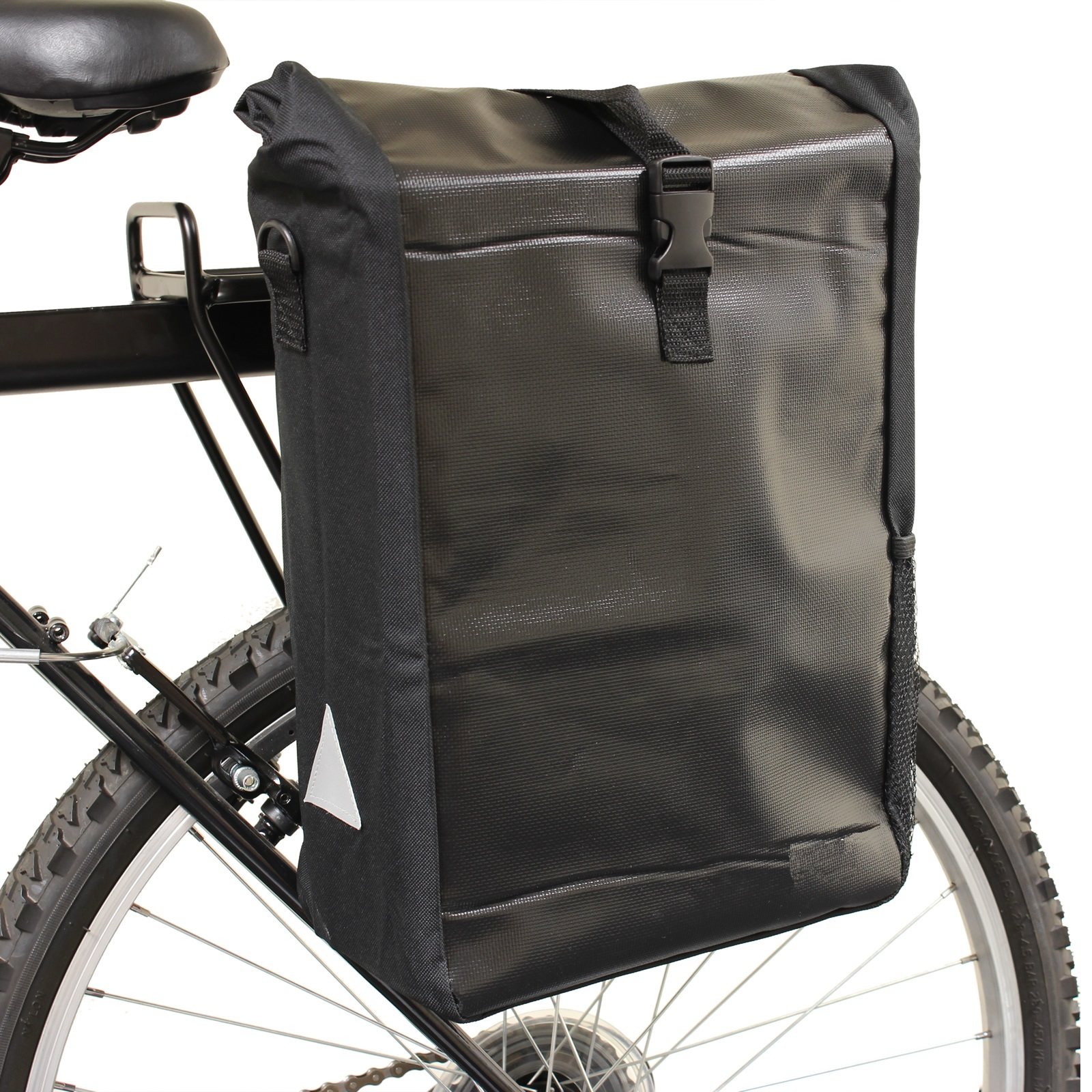 BLACK WATERPROOF SINGLE BICYCLE PANNIER RACK BAG BIKE/CYCLE COMMUTE/SHOPPING Enlarged Preview