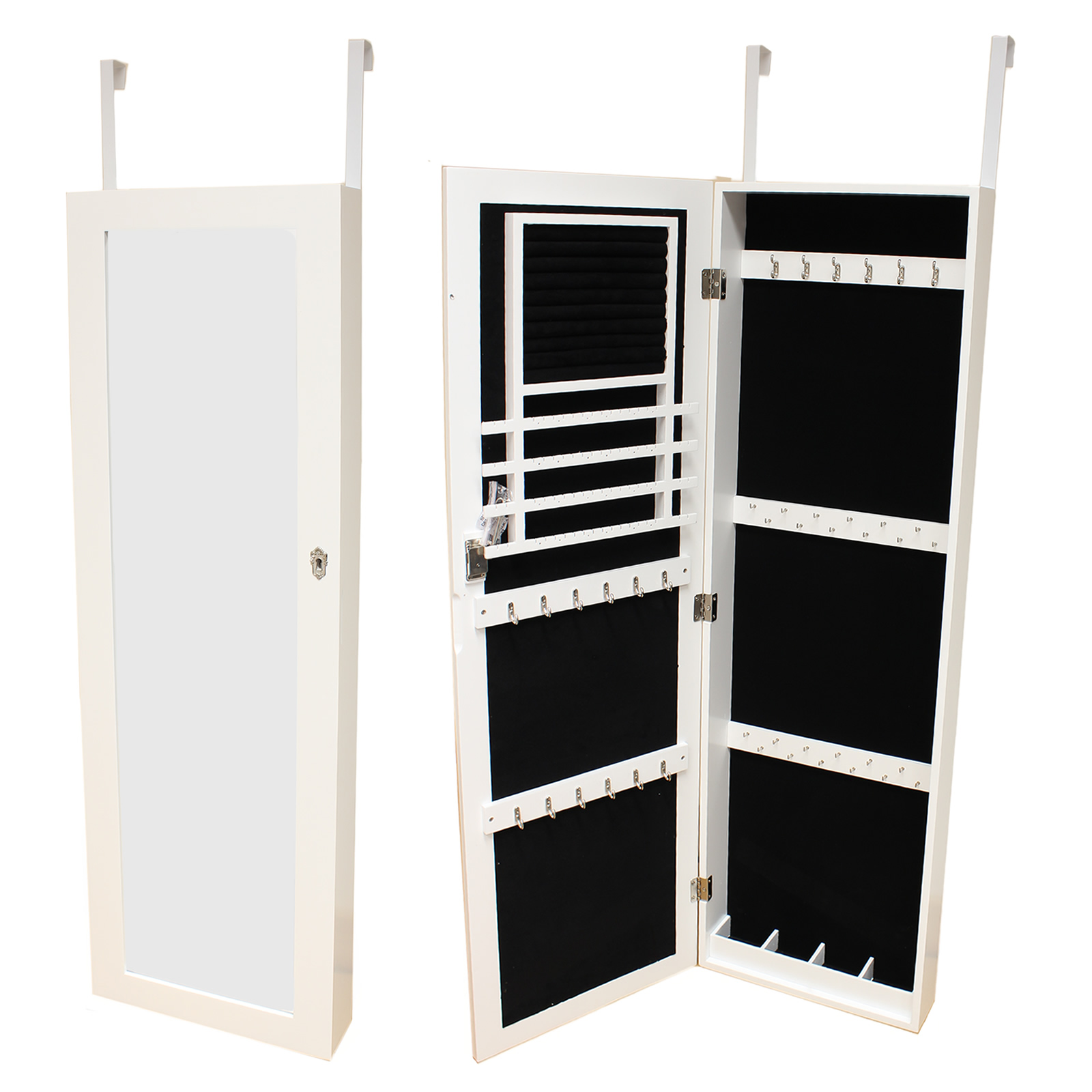 large white wall door mounted mirror jewellery box cabinet organiser full length ebay. Black Bedroom Furniture Sets. Home Design Ideas