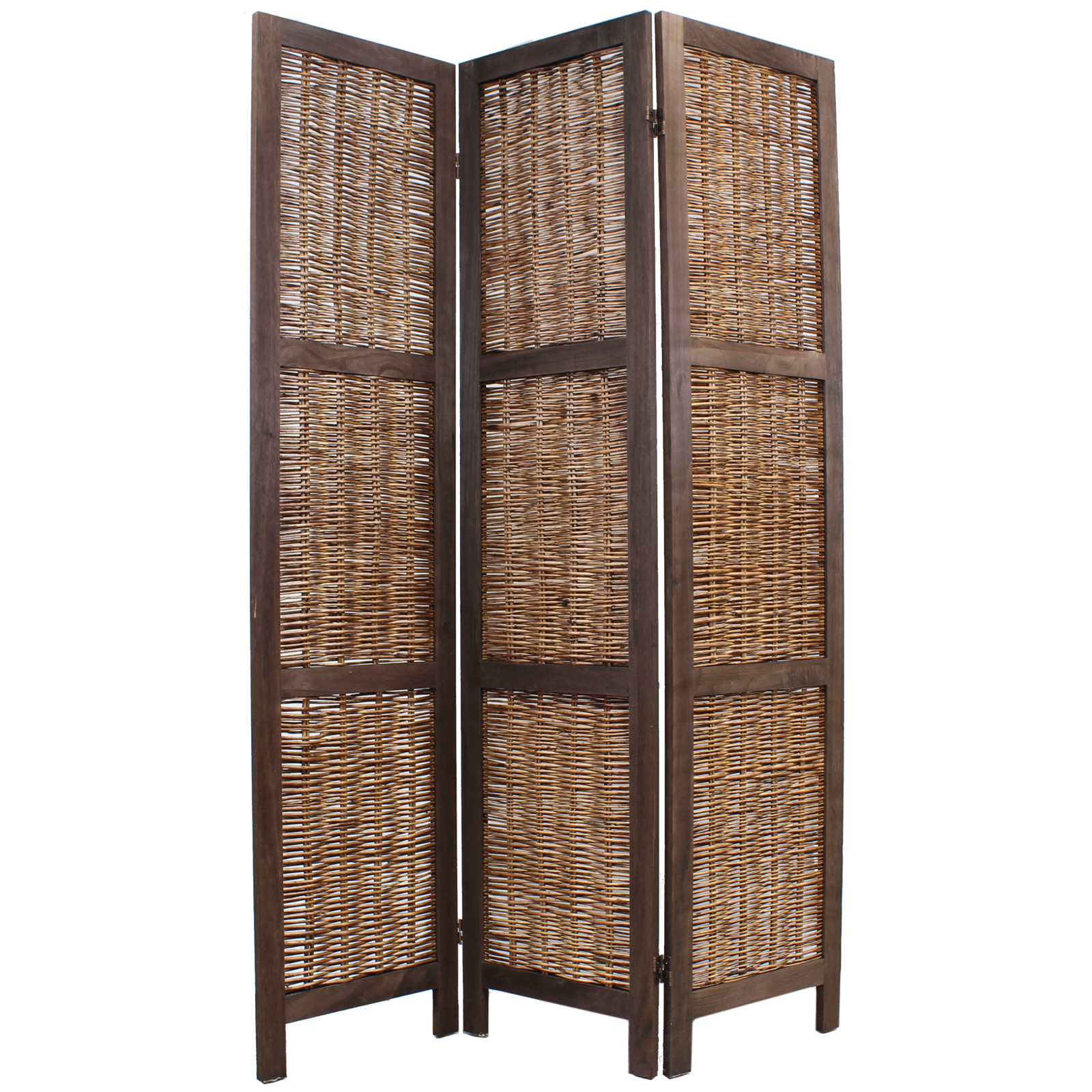 Wooden framed wicker room divider privacy screen partition shabby chic vintage ebay - Room divider ...