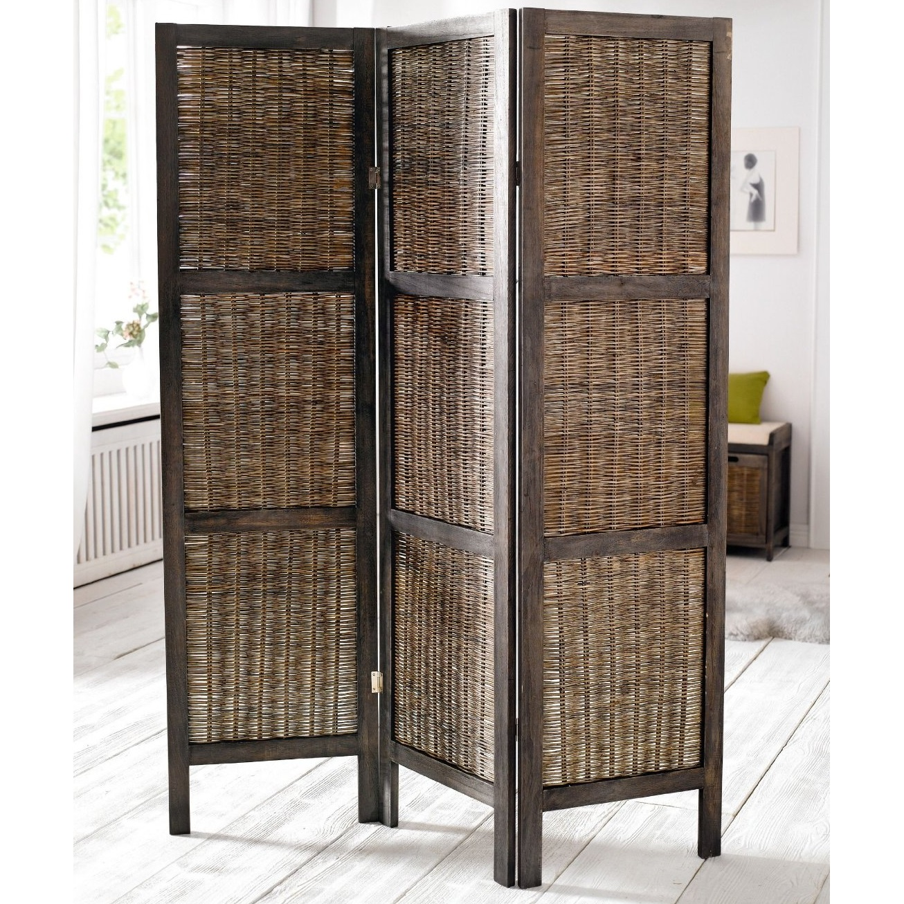 WOODEN FRAMED WICKER ROOM DIVIDER PRIVACY SCREEN PARTITION SHABBY CHIC VINTAG