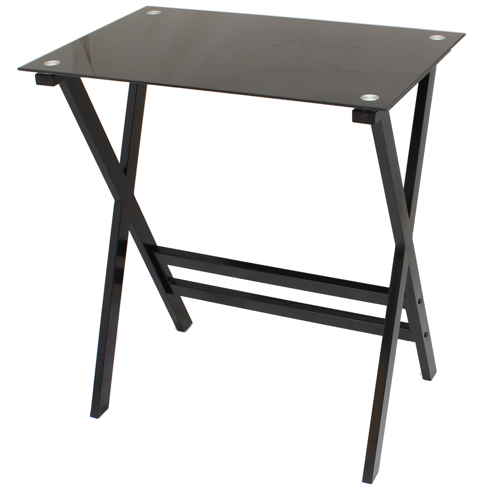 BLACK GLASS COMPUTER DESK TABLE PC/LAPTOP HOME/OFFICE/ST UDY FURNITURE