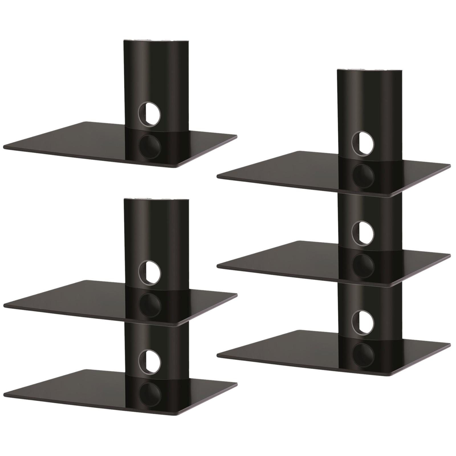 floating glass shelf tv dvd bluray box console av wall. Black Bedroom Furniture Sets. Home Design Ideas