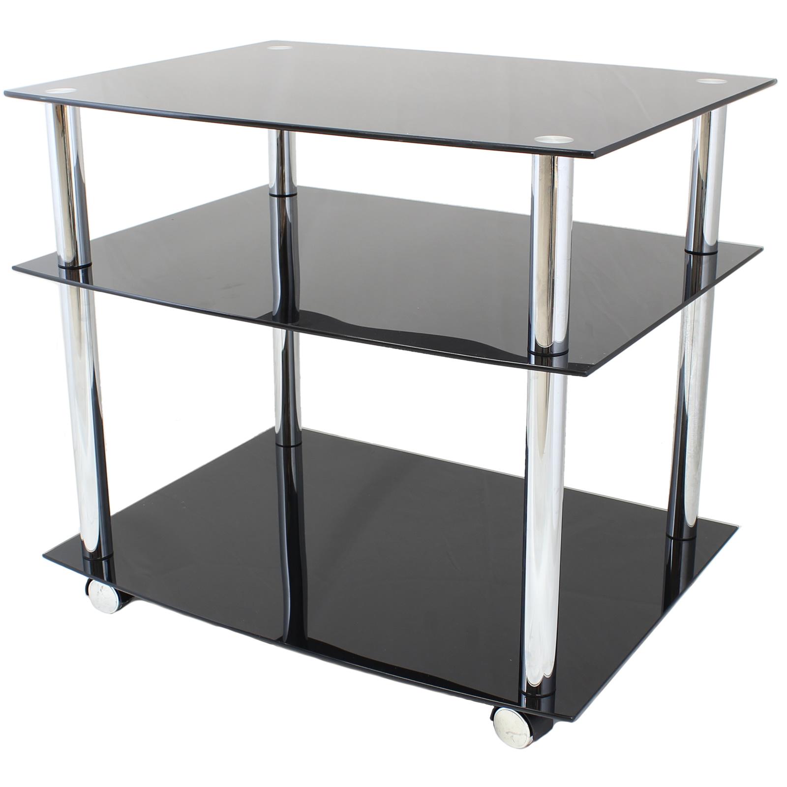 mobile glass tv av unit shelf stand projector trolley